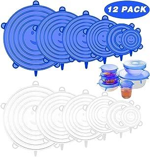 Azul 12pcs // Set Fundas de Silicona Ecol/ógica Reutilizable y Duradero ampliables para Mantener los Alimentos Frescos NIFOGO Tapas El/ásticas de Silicona