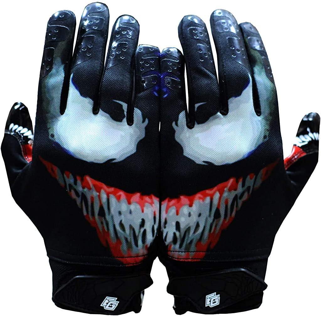 Taqcha Villian Football Gloves - Tacky Grip Skin Tight Adult Football Gloves - Enhanced Performance Football Gloves Men - Pro Elite Super Sticky Receiver Football Gloves - Adult Sizes : Sports & Outdoors