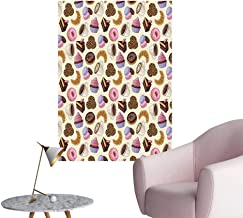 Vinyl Wall Stickers Shop Themed Image Cups Cake Chocolate Work Pattern Multicolor Perfectly Decorated,16