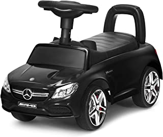 Costzon Kids Push and Ride Racer, Licensed Mercedes Benz Ride On Push Car w/Horn Music, Under Seat Storage, Foot-to-Floor ...