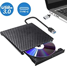 Lecteur CD DVD Externe Type C USB 3.0,Graveur DVD Portable CD DVD +/-RW ROM Compatible..