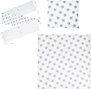 Puckdaddy Bett-Set Freya – Baby Bettwäsche-Set für Babybetten, Wendedesign mit Sterne & Pünktchen Muster, 100% Baumwolle, hochwertig & pflegeleicht
