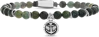 Steve Madden Oxidized Stainless Steel Beaded Anchor Disc Adjustable Bracelet For Men