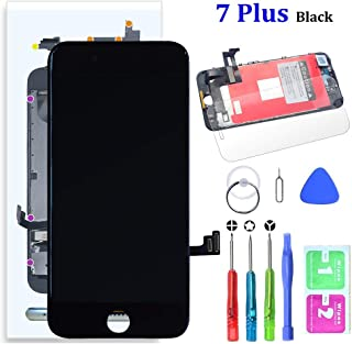 Compatible with iPhone 7 Plus Screen Replacement Black 5.5 Inch LCD Display with 3D Touch Screen Digitizer Frame Full Assembly Include Full Free Repair Tools Kit+Instruction+Screen Protector
