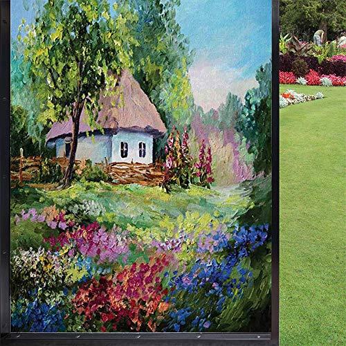 Película rústica para ventana estática, piedra casa y jardín pequeño con valla de madera, flores de cristal coloridas para el hogar y la oficina, multicolor, 60 x 90 cm