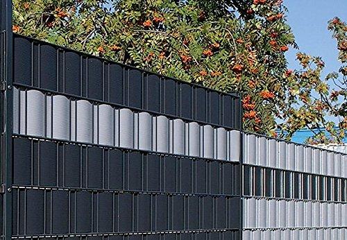 Gartenwelt Riegelsberger Sichtschutzstreifen Hart-PVC für Doppelstabmatten Sichtschutz Streifen 1 Stück FENSTERGRAU RAL 7040 mit Länge 2,525 Meter Höhe 19 cm Stärke 1,35 mm