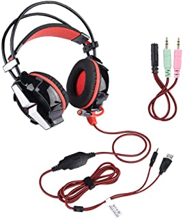 PS4 Gaming Headset, Special Headset Stereo Bass Headphones with Microphone and LED for Phones, Notebooks, Desktop Computer...