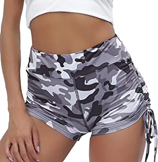 Meet Nice Women's Sport Fitness Gym Stretchy High Waisted Ruched Butt Lifting Workout Running Yoga Shorts