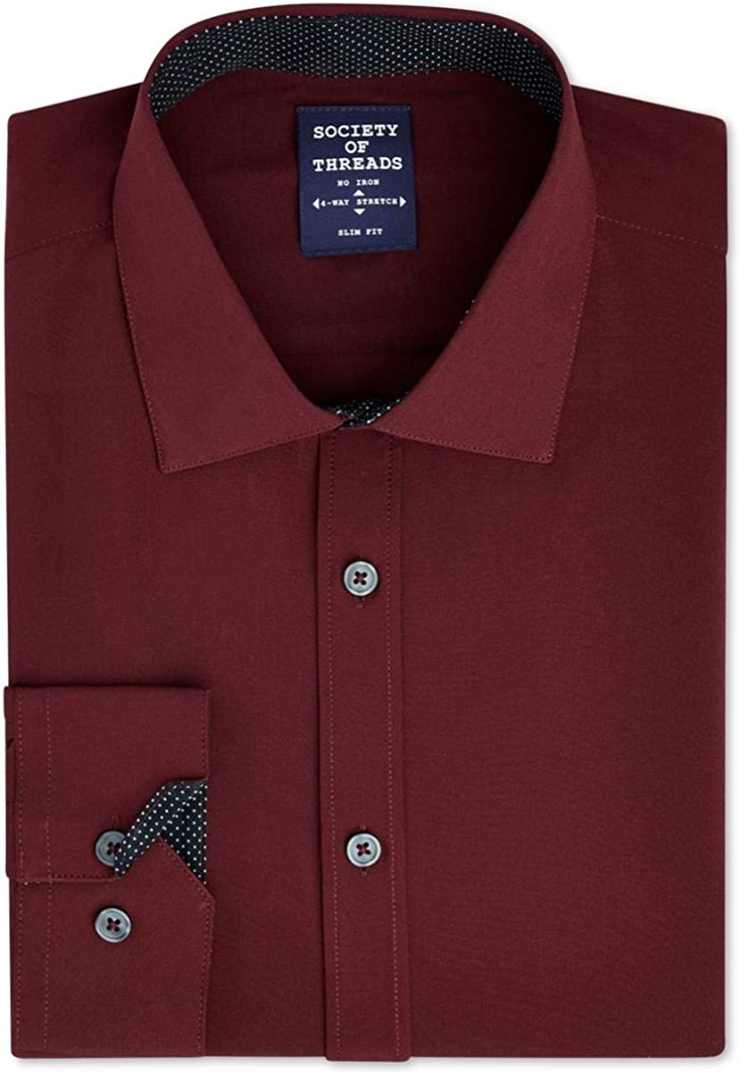 Society of Threads Mens Solid Button Up Dress Shirt