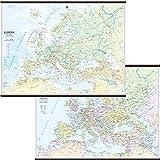 Europa Carta Murale Scolastica Bifacciale [Fisica/Politica] [132x99cm] Belletti
