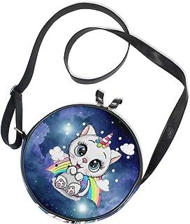 Ahomy Runde Tasche klein für Frauen – Nebel Sternenhimmel Einhorn Galaxy Katze Regenbogen Damen Mode Crossbody Tasche Umhä...