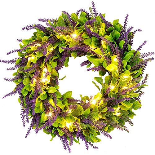 Cllayees 17' Lavender Wreath Artificial Hanging Front Door Wreath for Home Window Wall Decoration, Warm White 40 LED Lights Lifelike Outdoor Welcome Lavender Wreath for Spring Wedding Party