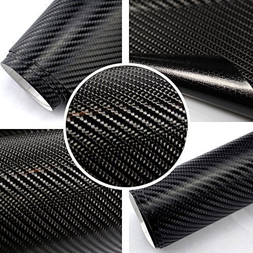 TipTopCarbon 6,58€/m² 4D Carbon Folie schwarz BLASENFREI 0,3m x 1,52m mit Luftkanäle Autofolie selbstklebend