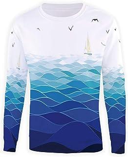 MOOCOM Mens Crewneck Teal and White Sweatshirt