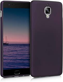 kwmobile TPU Silicone Case for OnePlus 3 / 3T - Soft Flexible Shock Absorbent Protective Phone Cover - Metallic Berry