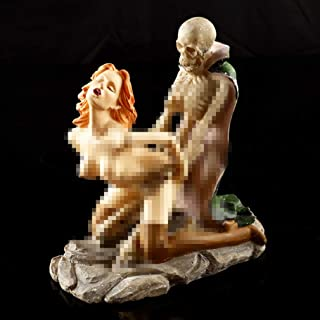 YOTATO Resin Skull Ghost & Beauty Sexy Craft Statue Sculpture 2-Posture Home Bar Party Desk Decorative Funny Gift