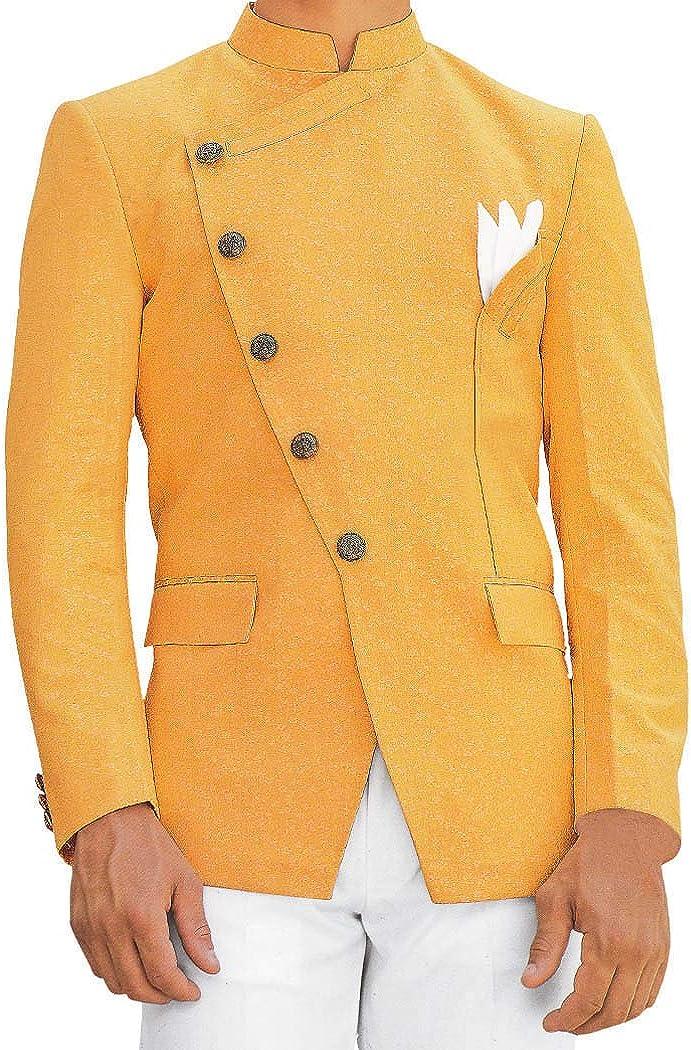 INMONARCH Orange Mens Jodhpuri Suit with Fashionable Nehru Suit Jacket JO169XL48 48 X-Long Orange