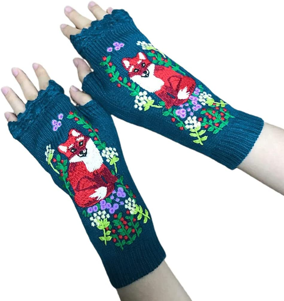 KYSA Winter Warmer - Women Knit Fingerless Gloves - Animal Embroidery Arm Warmers - Lengthen Thumbhole Mittens - Winter Gift