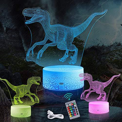 Manfore Dinosaurier Nachtlicht, Dinosauriergeschenke Velociraptor 3D Nachtlicht Nachttischlampe Deko Licht, mit Fernbedienung und 16 Farbwechsel und Dimmbaren Funktionen für Kinder Jungen Mädchen