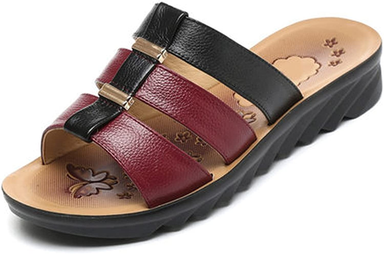 YUBIN Slipper Female Wear Outside Genuine Leather Sandals Non-Slip Flat Large Size Comfortable Women Sandals (color   C, Size   37)