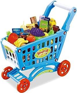 棚, 赤ちゃん子供用シミュレーションスーパーマーケットショッピングカートおもちゃトロリー野菜と果物セット収納バスケットおもちゃ早期教育玩具(色:ピンク)、色:青 (Color : Blue)