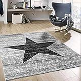 VIMODA Stern Jugendzimmer Wohnzimmer Teppich Grau Trendiger Kurzflor Teppich Stern Stylish Accessoire, Maße:120x170 cm