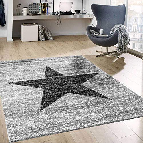 VIMODA Stern Jugendzimmer Wohnzimmer Teppich Grau Trendiger Kurzflor Teppich Stern Stylish Accessoire, Maße:80 x 150 cm