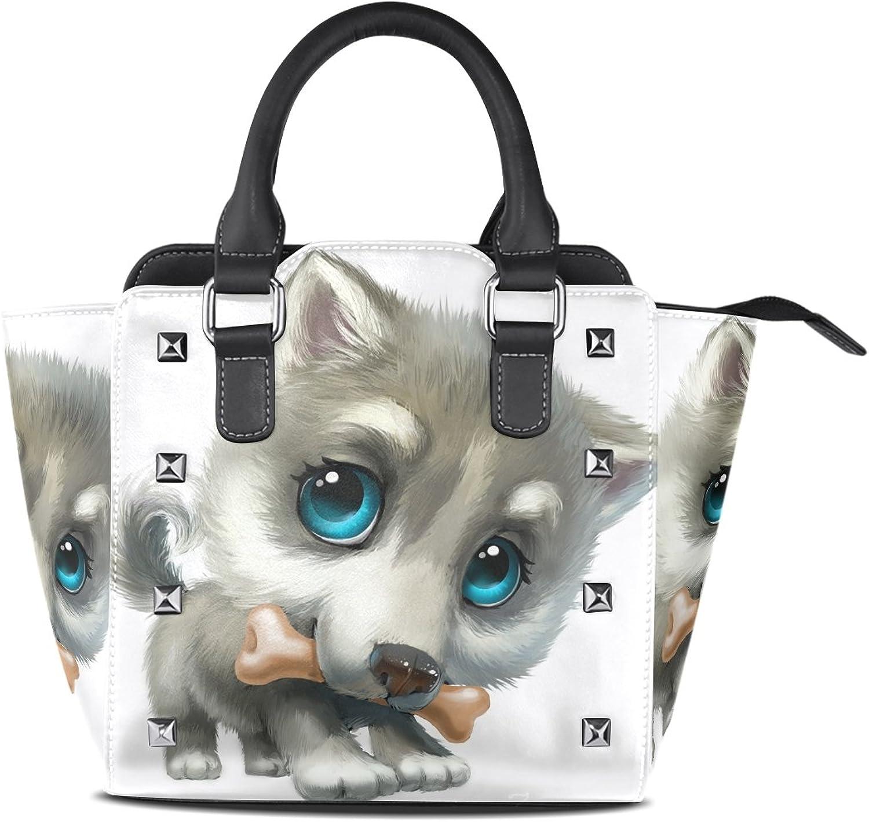 My Little Nest Women's Top Handle Satchel Handbag Sweet Husky Puppy Ladies PU Leather Shoulder Bag Crossbody Bag