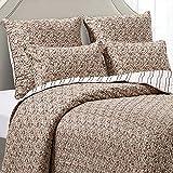 PimpamTex Tagesdecke, Flauschige Steppdecke für das Schlafzimmer oder Wohnzimmer, Eleganter Sofa- & Bettüberwurf, Seitenwechselbare Wendebettdecke Modell Bouti (180 x 270 cm, Fani Ziegelrot)