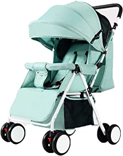 Extra Tall Doll Baby Stroller, Safe Five-Point Harness and Brake, Adjustable Backrest, 360 Degree Swivel Wheels, for 0-3 Ages, Green