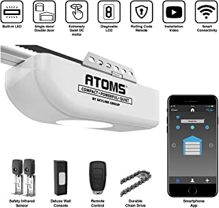 Atoms ATR-1611W by Skylink 1/2HPF Smart Wi-Fi Garage Door Opener with Extremely Quiet DC Motor, Chain Drive