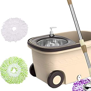 Spin Mop and Bucket System with 3 Microfiber Mop Heads 5L Stainless Steel Mop Bucket with Detergent Dispenser for Floor Cl...
