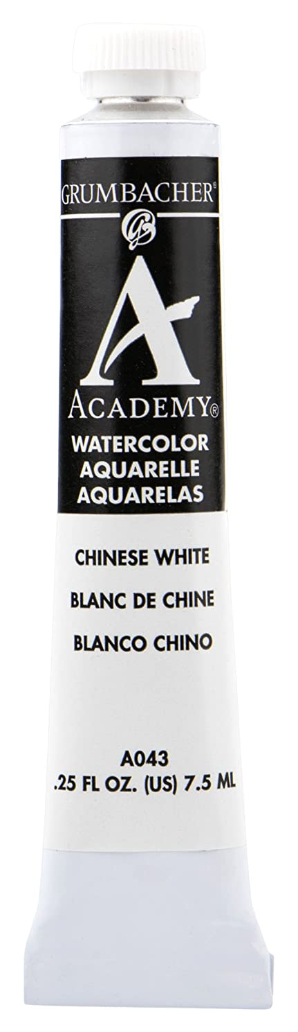 Grumbacher Academy Watercolor Paint, 7.5ml/0.25 Ounce, Chinese White (A043)