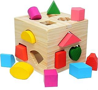 Mumoo Bear Wooden educational toys shape matching Blocks Toy for children, Multicolour, B07MCQ26HB
