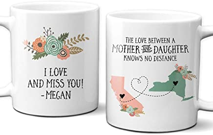 Two State Mother Daughter Mug | Gift For Mom | Gift For Her | Mother Present | Mothers Day Gift | Long Distance Map Gift | Unique Mom Gift | Gift for Daughter