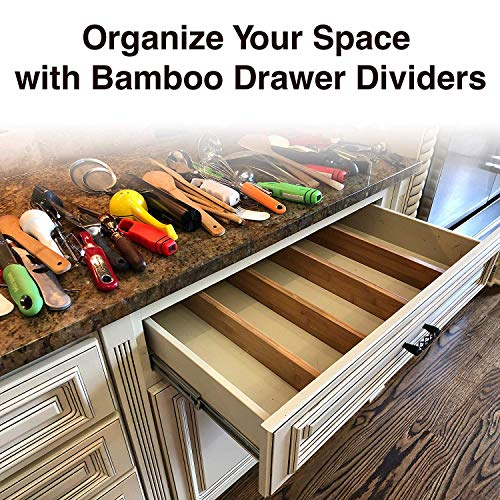 Adjustable Bamboo Drawer Dividers Organizers - Expandable Drawer Organization Separators For Kitchen, Dresser, Bedroom, Bathroom and Office, 4-Pack (17-22 IN, Natural)