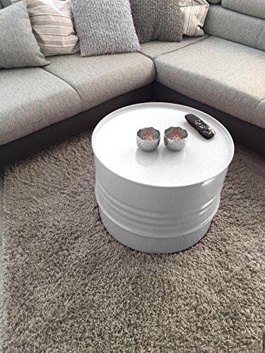 Fassmöbel Beistelltisch Ölfass Tisch Fass Design Möbel Couchtisch Weiss Ø 57cm