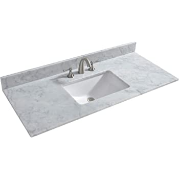 CAHABA CAVT0137 37 x 22 Beige Granite Vanity Top with right off-set bowl and 8 faucet spread