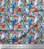 Soimoi Grau Baumwoll-Voile Stoff Zweig & bunter Papagei