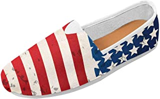 Abstract American Flag Women's Go Walk Slip-On Loafers Casual Shoes (US4.5~US14)