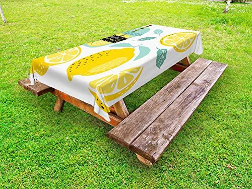 ABAKUHAUS Citroen Tafelkleed voor Buitengebruik, Zelfgemaakte limonade met Pijp, Decoratief Wasbaar Tafelkleed voor Picknicktafel, 58 x 104 cm, seafoam Mosterd