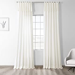PRCT-S01B-84-TT Solid Cotton Tie-Top Curtain, Fresh Popcorn, 50 x 84