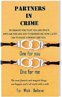 BOCHOI Partners in Crime Bracelets Handcuff Friendship Bracelet for 2 Girls Women Men Couples Boys BFF Bestfriend Lovers Matching Wish Handmade Bracelet