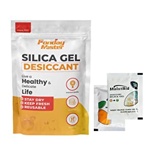 Fonday Premium Food Grade Silica Gel Desiccant Packets Dehumidifier Silica Gel Packs - Rechargeable Moisture Absorber Desiccant Packets (5g x 50Pack Moisture Indicating)