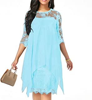 Surprise S Solid Color Three Quarter Sleeve Lace Dress Round Neck Women Overlay Chiffon Plus Size