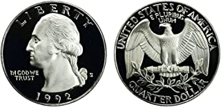 1992 S US Mint Deep Cameo Washington Silver Proof Quarter DCAM