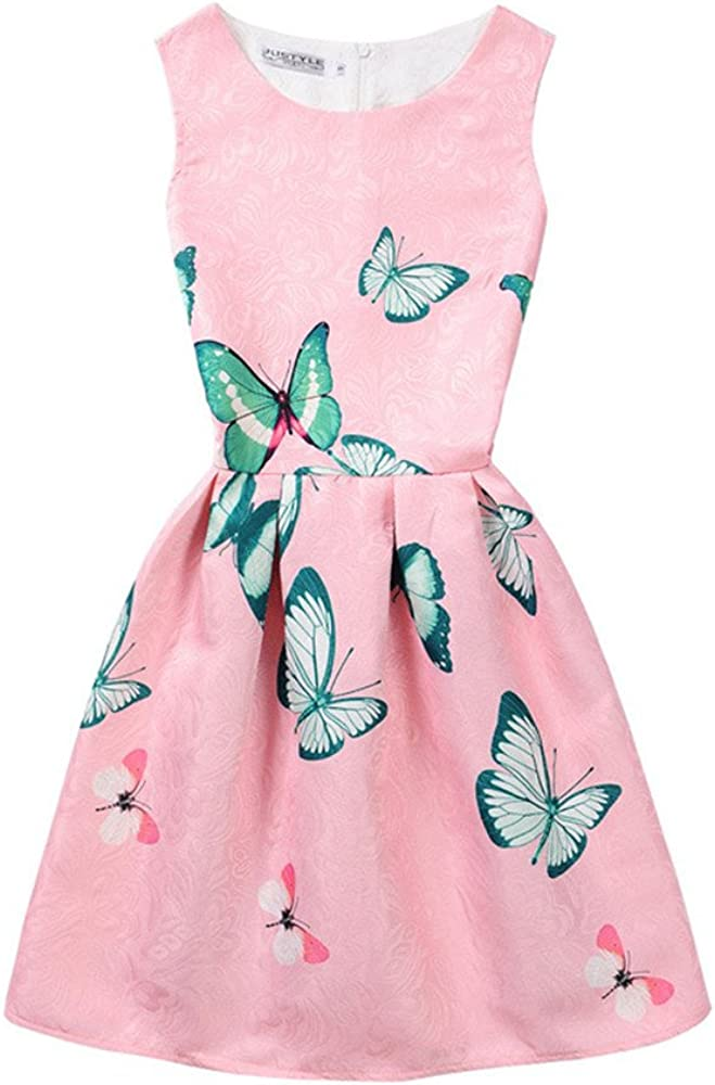 Women Lounging Chic Slim Jacquard Various Floral Print Vest Dress O-Neck Ruched Butterfly11 Girl 7-8 Years