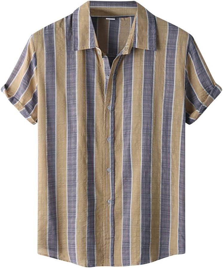 WPYYI Summer Men Shirt Portland Mall Vintage Breathable Ranking TOP10 Stripe Printing Cotton