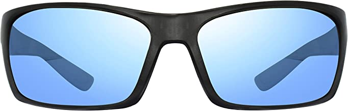 Revo Polarized Sunglasses Rebel Wraparound Frame 64 mm, Matte Black Frame, Blue Water