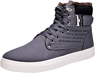 Minetom Homme Mode Sneakers Casual Shoes Chaussures Sport Lacets Espadrilles Boucle Impression Anglaise Automne Hiver
